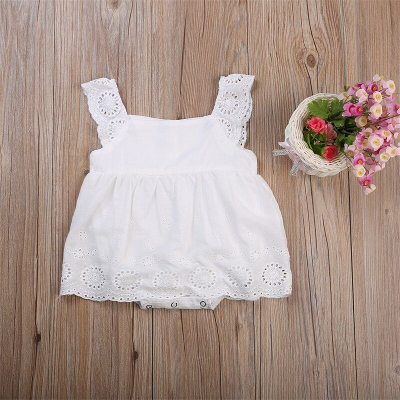 Newborn Infant Baby Girl Sleeveless Solid Lace Bandage Mini Dress Romper Clothes