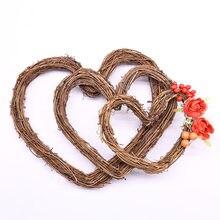 Guirnalda con forma de corazón de amor, adorno colgante de Navidad, artesanal, de mimbre, suministros de corona, 1 ud.
