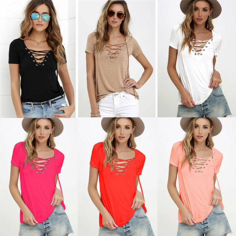 Goocheer 6 Colors Trendy T Shirt V neck Cross Women T Shirt Summer Style Short Sleeve Tops Hollow Out Top femme top tee tshirt in T Shirts from Women 39 s Clothing