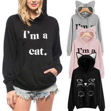 Women Winter Letter I am a cat Black Long Sleeve Hoodie Jumper Sweater Coat Long Sleeve Sports Pullover Tops NEW 4 Colors(China)