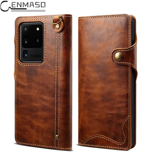 Image 1 - Genuine Leather For Samsung S20 Ultra Note 20 10 Plus 9 Case Wallet Flip Case for Samsung Galaxy S8 S9 S10 Plus Note 8 9 10 Case