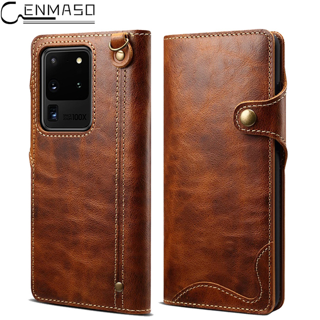 Genuine Leather For Samsung S20 Ultra Note 20 10 Plus 9 Case Wallet Flip Case for Samsung Galaxy S8 S9 S10 Plus Note 8 9 10 Case