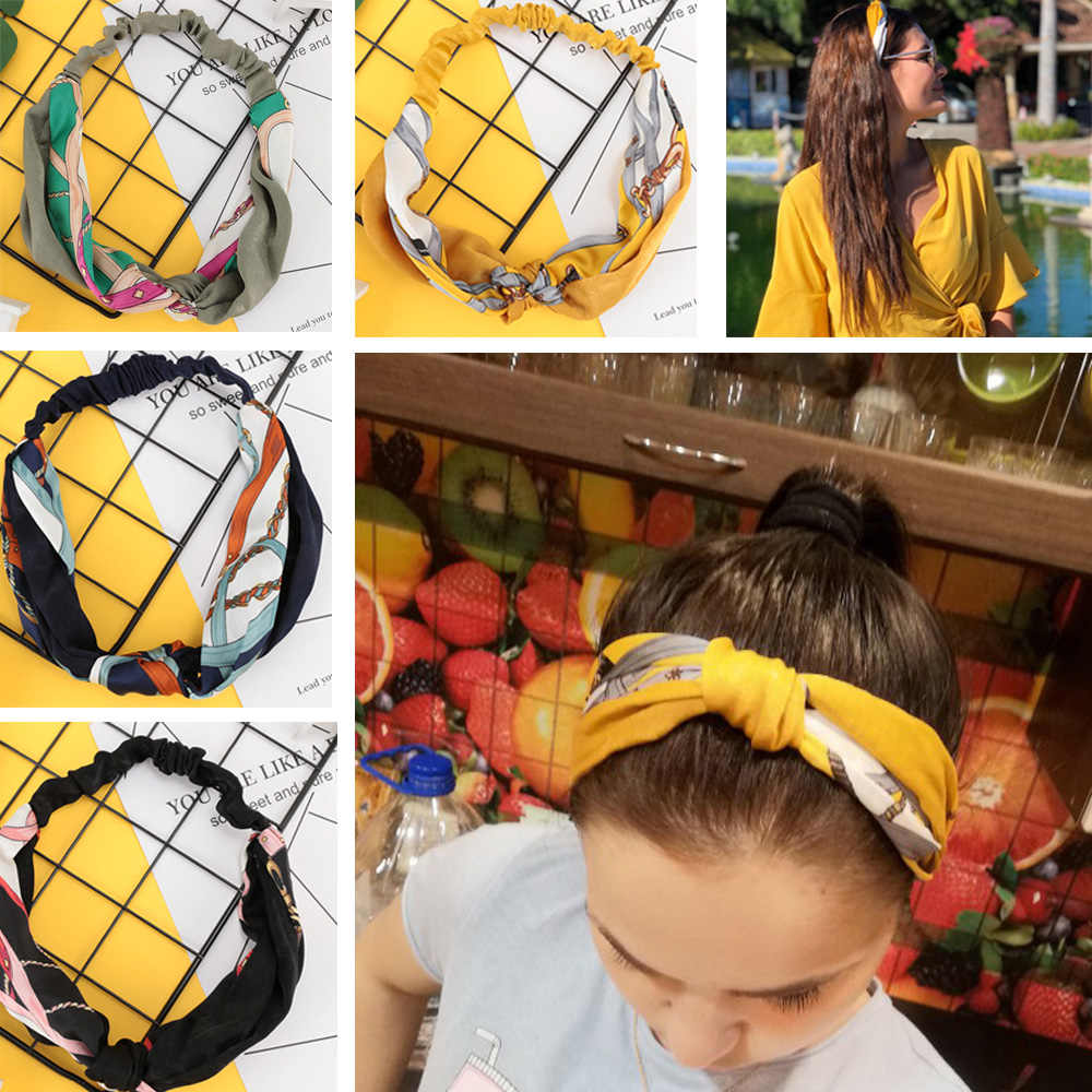 Women Hairband Korean Style Summer Lovely Hair Accessories Turban Twist Cross Headwrap Girl Floral Elastic Knotted Headwear