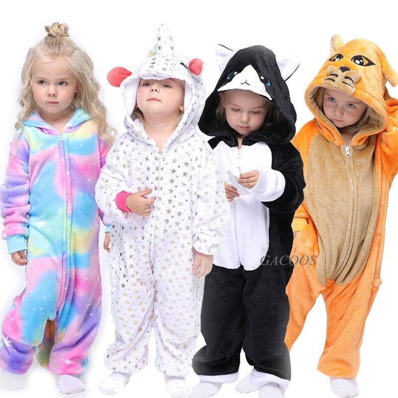 Macacão de flanela para crianças, roupa de