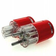 Connecteur HIFI Oyaide en cuivre plaqué Rhodium Schuko EU AC, connecteur rouge transparent