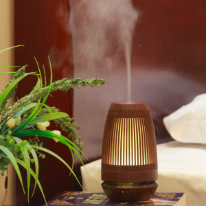 Ultrasonic Humidifier Incense Burner Wooden Grain Oil Burner Vaporizer Aromatherapy Lamp Brule Parfum Incent Burner AC50XL