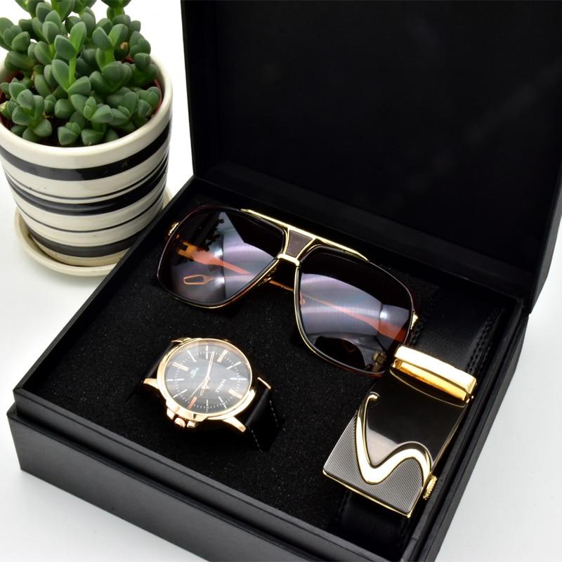 Ensemble lunettes ceinture montre quartz pour hommes 1