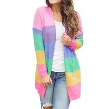 Autumn Sweater Women Long Sleeve Patchwork Knitted Open Front Rainbow Striped Cardigan Women Coat open front colorful striped cardigan
