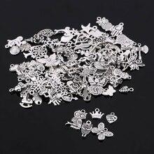 100 шт./лот, разные формы, тибтан, серебряные подвески, подвески для рукоделия, изготовления ювелирных изделий для женщин и мужчин