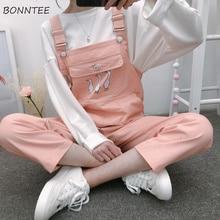 סרבלי נשים פופולרי Playsuits רצועת סטודנטים קוריאני סגנון נשים חדש BF Slim Cartoon Kawaii כיס קרסול אורך פנאי שיק