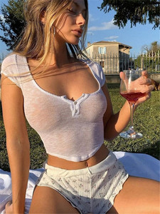 Sexy Tank Top White Halter Crop Tops Women Summer Camis Backless Camisole Fashion Transparent Female Short Sleeve Cropped Vest