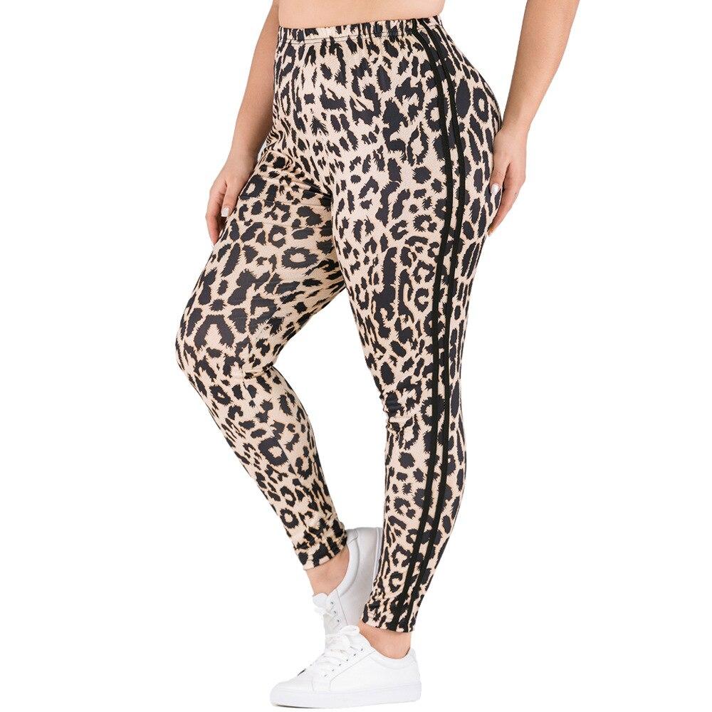 Aygaiyigu Plus Size Leopard Printing Leggings Women Fashion Elastic Bodycon Leggings Large Size High Waist Side Striped Clothing
