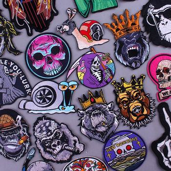 Punk Skull Rock Patch Iron On Patches Clothes Biker For Jackets DIY Jeans Vest Jacket Back Parches Embroidery