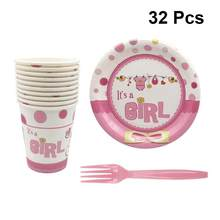 32pcs Birthday Party Tableware Set Disposable Paper Plates Cups Forks For Picnic Festival Party Tableware Decoration(China)