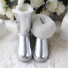 Brand Boots Sheepskin New-Shoes Winter Fashion Women Fur No Natural-Fur 100%Wool Genuine