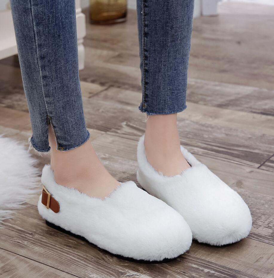 long fur flats women slip on winter shoes with plush flat heel moccasins ladies Belt buckle fur mules designer furry loafers 43