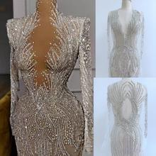 Full-Body-Patches-Accessory Bodice Applique Rhinestones Nude Dress Handmade Silver