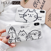Cartoon Wrinkle Cat Phone Case For iPhone 6 7 8 Plus Funny Animal Soft TPU XR XS Max Ultra Thin