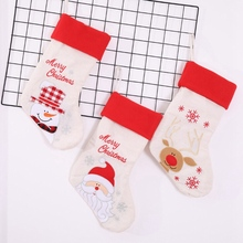 High-end Christmas Stockings Gift Bags Cute Candy Bag Linen Embroidery Decoration HoldersCM