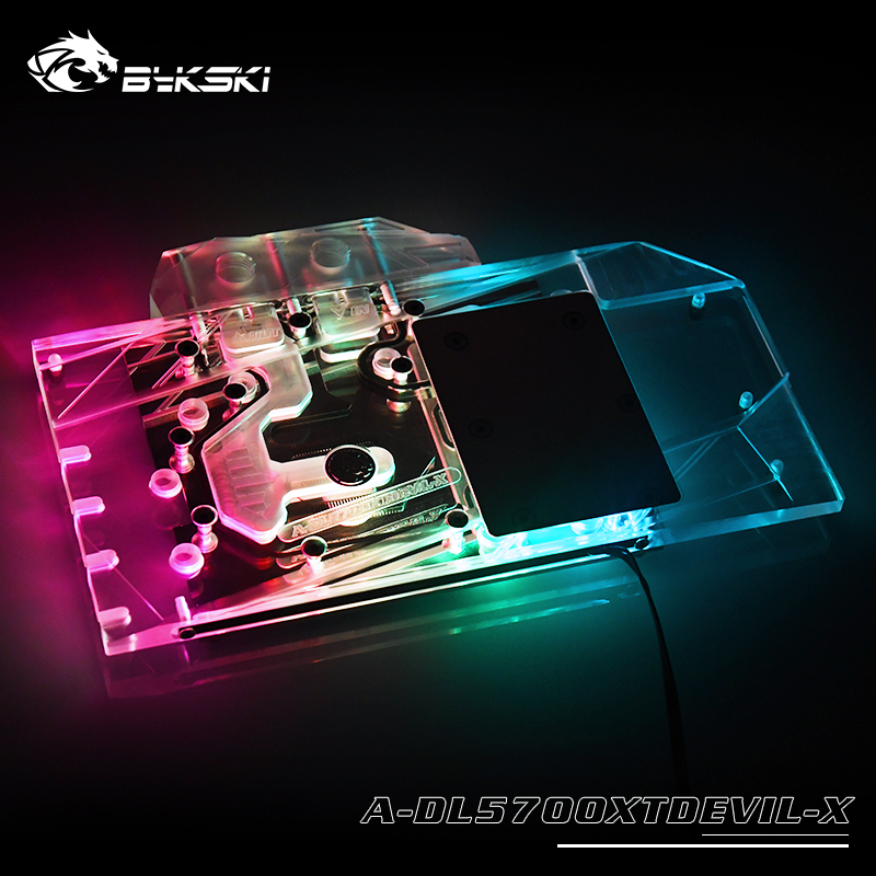 BYKSKI Water Block use for Dataland Power Colour 5700XT Red Devil/Dragon Support A RGB/RGB Full Cover Copper Radiator Block|Fluid DIY Cooling| |  - title=