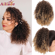 Hairpiece Ponytail Synthetic-Hair-Bun Afro-Puff Kinky-Curly Clip-In Natural-Black Women