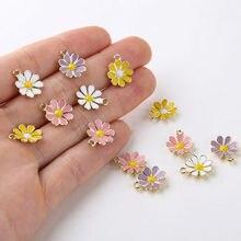 10 pcs/pack fleur émail breloques artisanat en métal breloques pour porte-clés boucle d'oreille bijoux à bricoler soi-même faisant 12x14mm