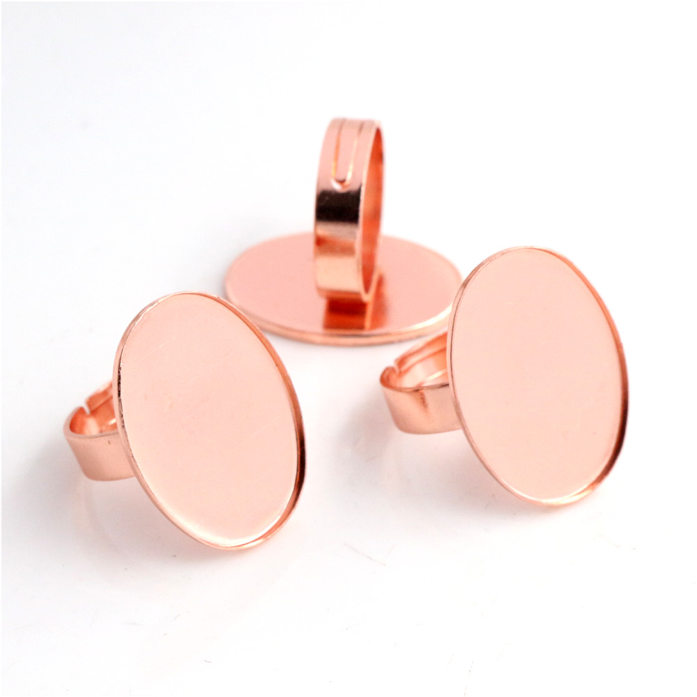 18x25mm 5pcs Rose Gold Color Plated Brass Oval Adjustable Ring Settings Blank/Base,Fit 18x25mm Glass Cabochons-J3-15