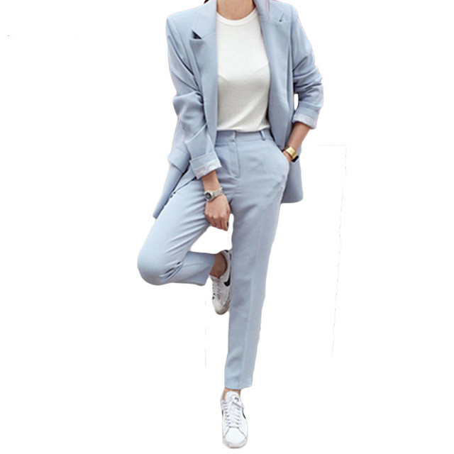 Newest Winter Spring Elegant Office Lady Business Suits Female Two Piece Sets Femme Long Sleeve Jacket And Trouser Suits