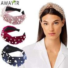 Awaytr узлом жемчуг повязка на голову для женщин ручной работы