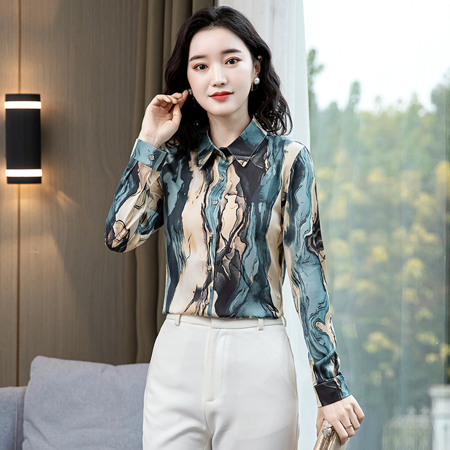 TingYiLi Vintage Printed Blouse Shirt Women Long Sleeve Boho Shirt Spring Autumn Korean Elegant Plus Size Top Female 3