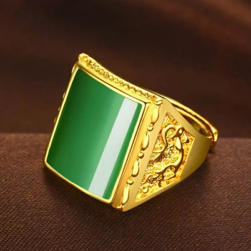 Jadery Natural Green Chalcedony Jade Ring Men Fashion Luxury Gold Silver Color Men Rings Wedding Fine Jewelry Christmas 2019
