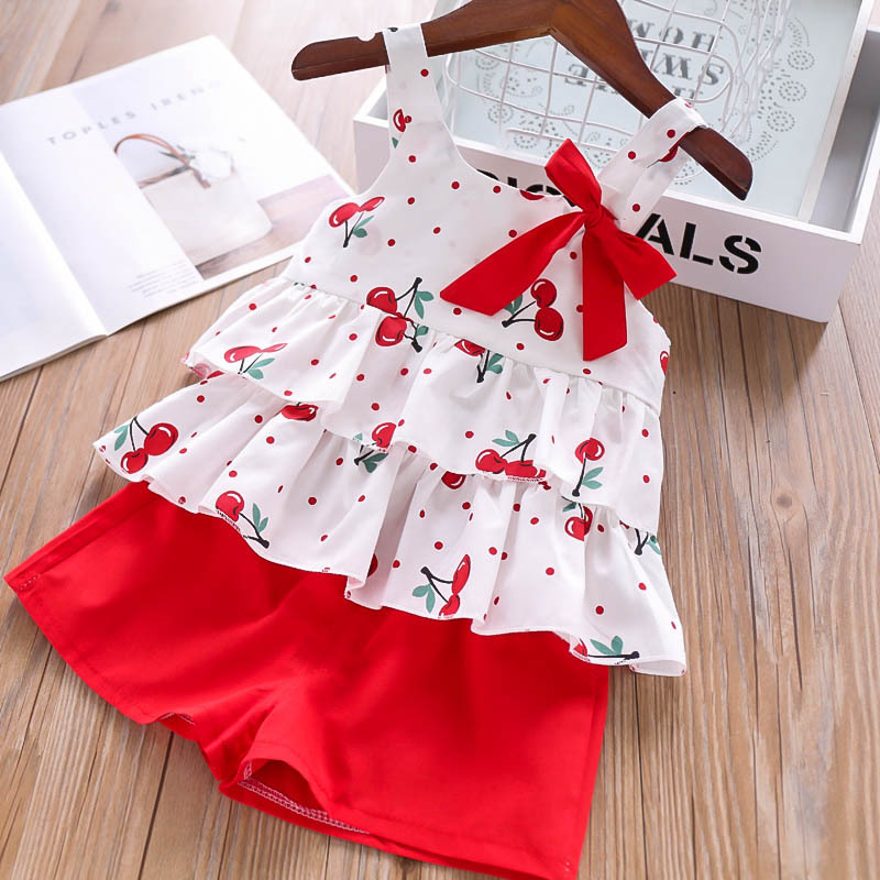 Humor Bear Girls Clothing Set 2020 Korean Summer New Ice Cream Bow Top T-shirt+Pants Kids Suit Toddler Baby Children's Clothes 10