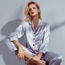 100% mulberry Silk pajamas set women summer autumn spring winter long-sleeved two-piece setsilk Sleepwear home service Gray