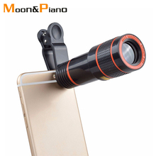 12X Telephoto Lens Clip Optical Zoom Monocular Telescope Phone Camera Adjustable With Universal for Smart Mobile Phones