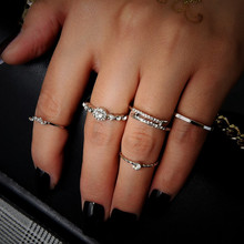 NJ 2019 New 5 Piece / Set Silver Rings For Woman Simple Finger Party Prom Jewelry Christmas Present Accessories