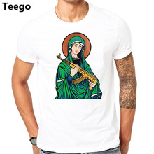 Blessed Virgin Mary Madonna Kalashnikov Gun t-shirt Top Pure Cotton Men T Shirt(China)