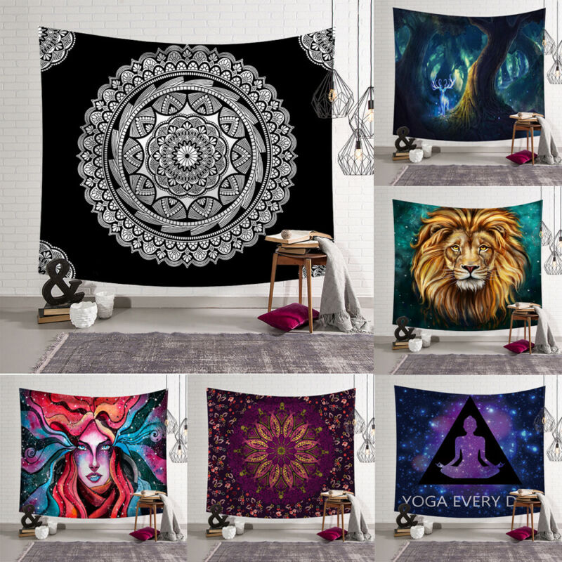 Mandala Skull Tapestry Wall Hanging Moon Phase Change Tapestries Bedroom Decor
