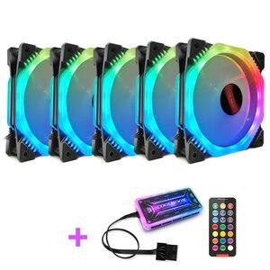 COOLMOON FANGZHOU2 компьютерный корпус ПК Вентилятор охлаждения RGB Настройка 120 мм тихий + ИК-пульт дистанционного управления Новый кулер для компью...