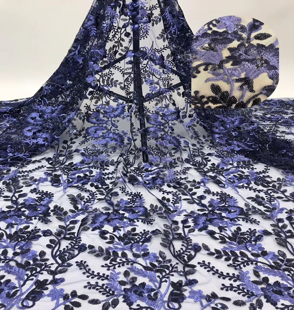 Fashion African Lace Fabric High Quality Sequins Lace Nigerian Lace Fabric For Wedding Sequence Fabric TS9038