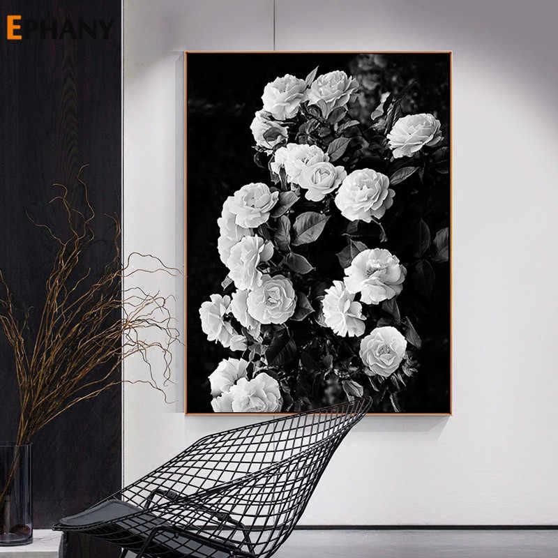Flor Rosa Lienzo Botánico Arte Cartel Nórdico Blanco Y Negro Impresión Pared Pintura Decoración Escandinava Cuadro Decoración Hogar