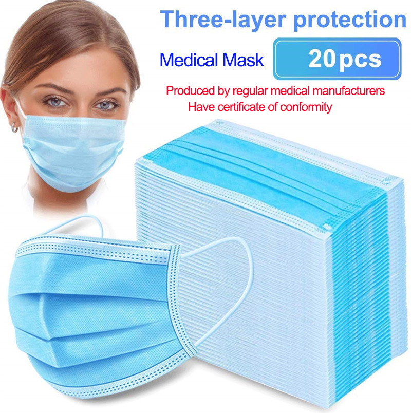 20 Pcs/Bag 3 Layer Non-woven Dust Medical Mask Thickened Disposable Mouth Mask Features As KF94 FFP2 With CE Certification