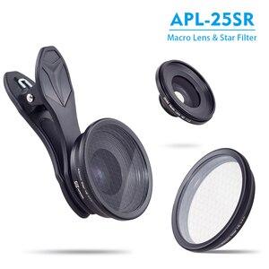 Image 2 - APEXEL 2in1 נייד טלפון עדשת 25mm 20x סופר מאקרו עדשה עם כוכב מסנן נייד צילום lente עבור smartphone APL 25SR