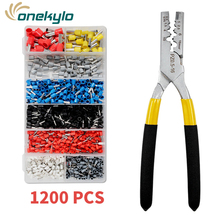 цена на Mini Small Ferrules Tool Crimper Plier for Crimping Cable End-sleeves +1200pcs 0.5-16mm2 terminals kit
