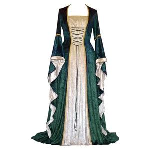 Image 2 - 새로운 중세 드레스 할로윈 의상 여성을위한 코스프레 궁전 고귀한 긴 가운 고대 벨 슬리브 공주 의상 드레스