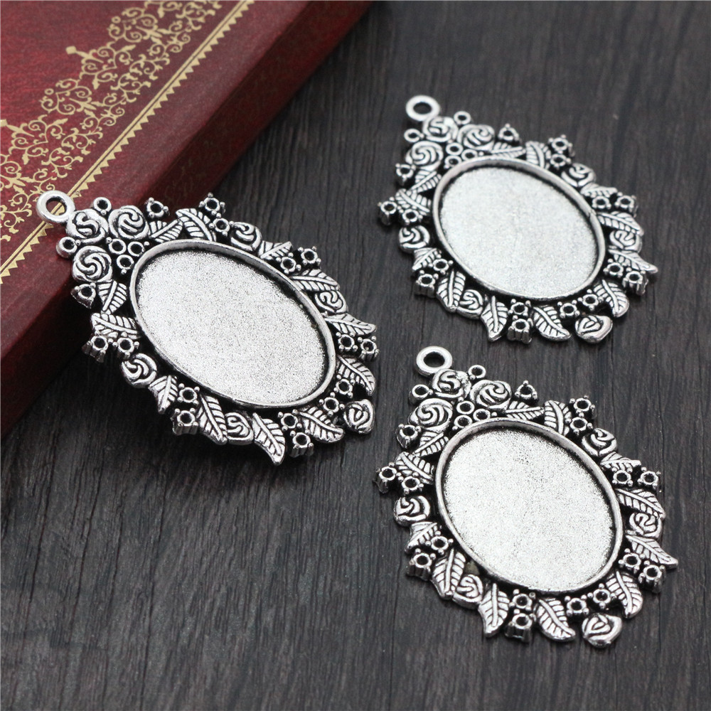5pcs 18x25mm Inner Size Antique Silver Plated Cameo Cabochon Base Setting Charms Pendant Necklace Findings  (C2-29)