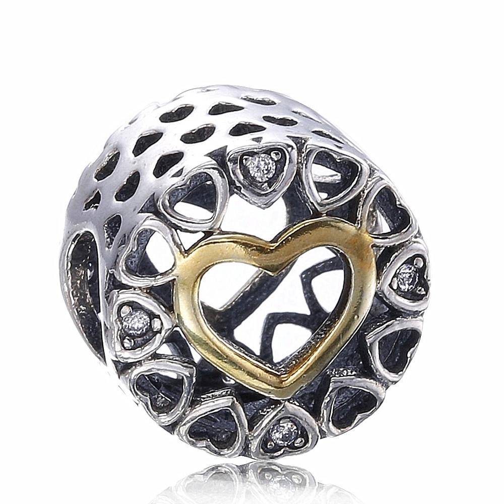 Ozoole Authentic 925 Sterling Silver Openwork Love Heart Charm Clear CZ Bead fit Pandora  Bracelets Jewelry