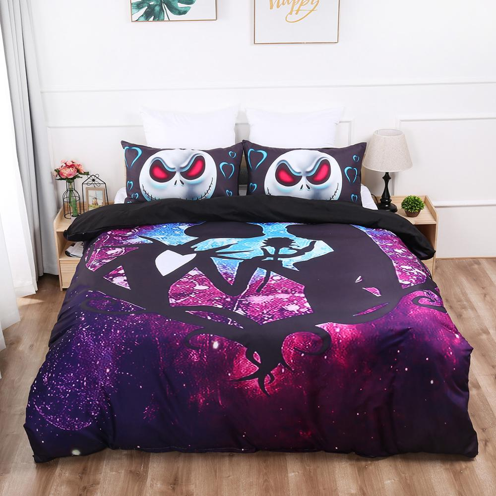 Halloween Series Bed Linens Set Gothic Skull Bedding Set Duvet Cover With Pillowcases Queen King Double Size Purple Bedclothes