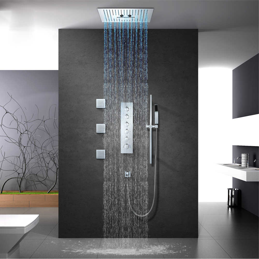 Luxury Bathroom Shower Faucet Set 16 Inch Rain Showers Led Light Embedded Ceiling Thermostatic Valve Waterfall Showerhead Misty
