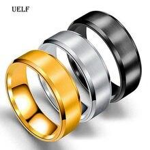 Uelf – bague en acier inoxydable pour hommes, bijoux de haute qualité, en titane noir, 8mm