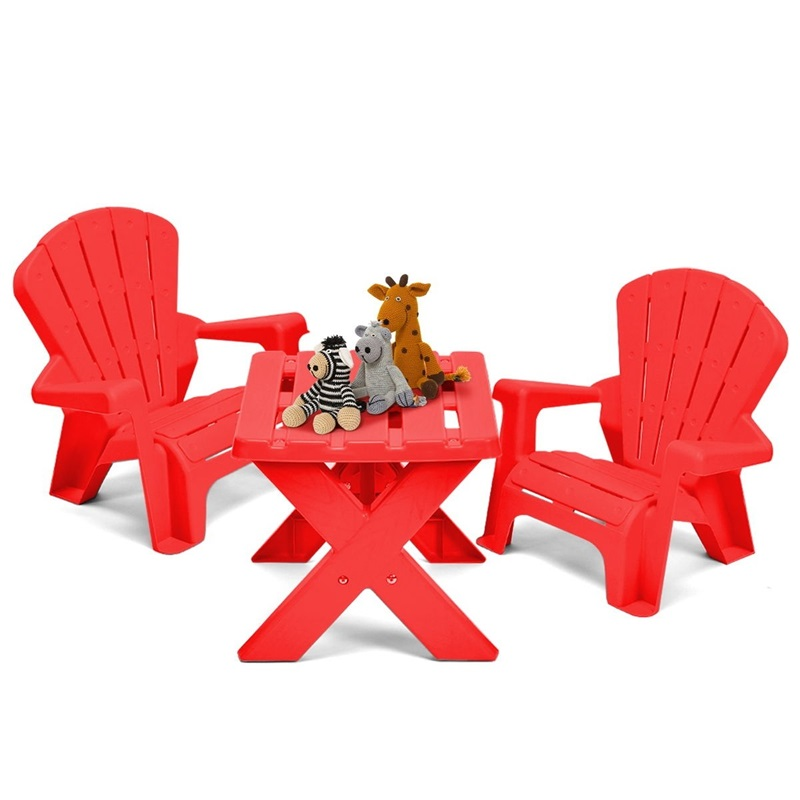 3-Piece Plastic Children Play Table Chair Set Durable Construction PP Furniture Set Simple Assembly Required OP3232